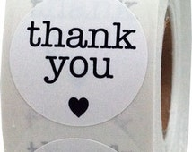 """1"""" Inch White/Black Round Thank You Stickers 