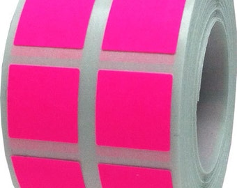 "1,000 Fluorescent Neon Pink Stickers | Small 1/2"" Inch Square Adhesive Labels"