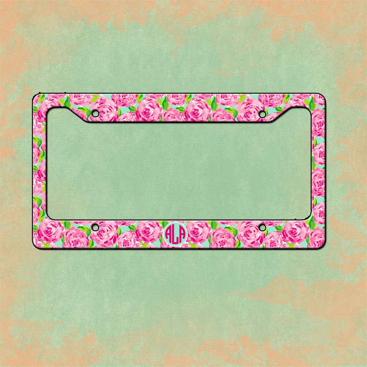 monogrammed license plate frame lilly pulitzer inspired personalized monogrammed license plate car tag