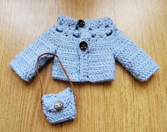 "PDF crochet pattern for 13"" doll clothes - Marguerites Purse & long sleeved cardigan - fits Cheries and H4H dolls + one bonus free pattern"