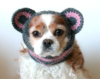 Grey Mouse Dog Snood / Stay-Put 3 Rows Elastic Thread / Handknitted / Long Ear Covering