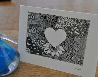 heart silhouette cards - pack of six