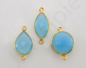 Blue Chalcedony Gold Plated 925 Sterling Silver Bezel Station Connector and Charm, 1 piece, Supplies Charms, Wholesale Gemstone Connector