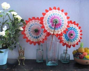 Pack of 3 Vintage Paper Fans Party Decorations