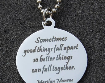 Marilyn Monroe Quote Necklace