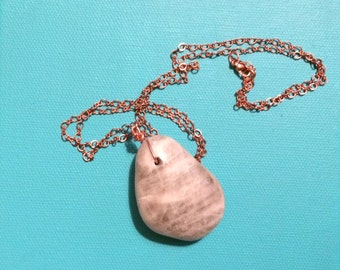 Semiprecious stone necklace  all copper chain