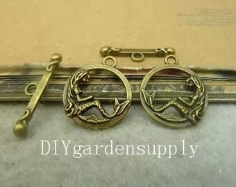 50sets 16x19mm/ 5x23mm antiqued bronze Mermaid clasps clasps  zinc alloy charms findings