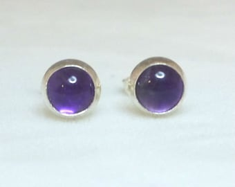 Sterling Silver  and Amethyst Stud Earrings Silver Studs Amethyst earrings 5mm Round