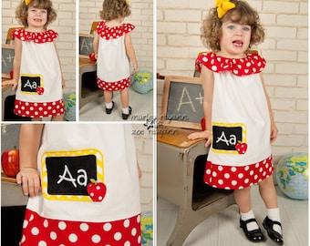 Apple Back to School Dress,Chalk Board Dress, Back to School Dress