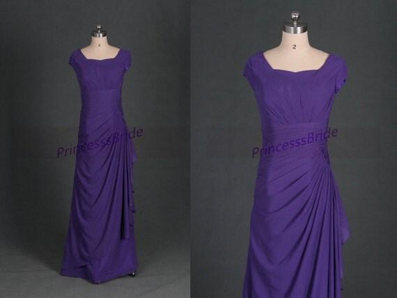 2016 Long Purple Chiffon Bridesmaid Prom Dresssimple Women