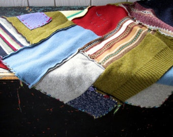 Wool Throw Blanket, upcycled repurposed handmade ooak patchwork sweaters, small crazy quilt baby blanket, rustic cabin cottage farmhouse