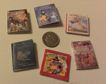 """6 Miniature Children's Books 1"""" scale for Dollhouse for Miniature Projects Color Interior Pages"""
