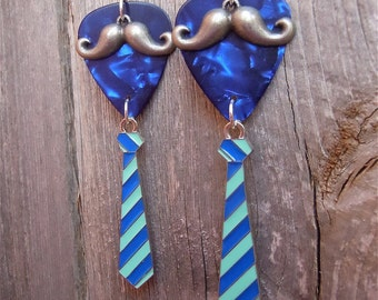 Mr. Guitar Pick Earrings with Mustache and Tie - Pick Your Color