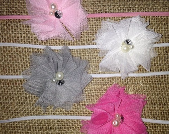 Newborn headbands, baby headbands, you pick one headbands, grey headband, light pink headband, hot pink headband, white headband