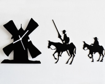 Don Quixote Set of Three Silhouette - Wall Clock