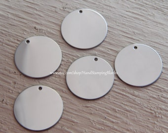 Stamping Blanks - Five (5) Round Prepunched Stainless Steel Disk for Hand Stamping -Select Size 1.5 inch, 1inch, 7/8inch, 3/4 inch, 1/2 inch