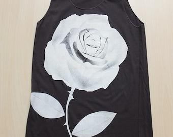 White Rose Noir Goth Punk Rock Fashion Tank Top M
