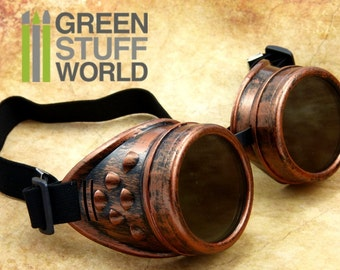 SteamPunk GOGGLES in COOPER color - with adaptable elastic bands