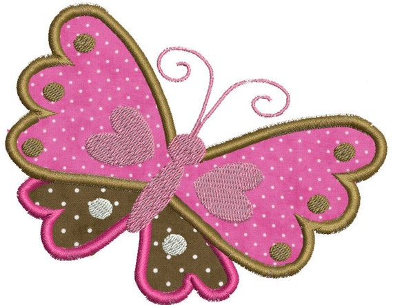 Butterfly Hearts Applique Design In Hoop Sizes 5 X 7