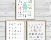 Woodland Animal Poster Wall Art, set of 3, Woodland Nursery Wall Art, Woodland Wall Art, Woodland Nursery Print, Woodland Alphabet, ABC art