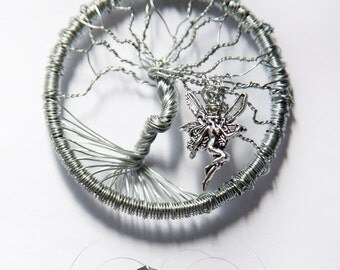 Tree of life Wire Wrapped Pendant with a Silver Fairy ( Made to Order )