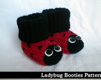 Lady Bug Baby Booties Knitting Pattern