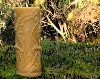 Pure Beeswax Candle. Rustic Fern Pillar Shape. 2.5x5.3 inches. Pure Unbleached Cotton Wicking.  Hand Poured. 100% pure beeswax.  Unscented.