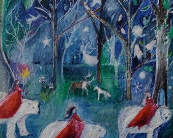Polar Bears with Princesses, Fairytale Art,  Forest, Original oil painting, 8 x 8 inches oil on stretched canvas over wood, by Romany Steele