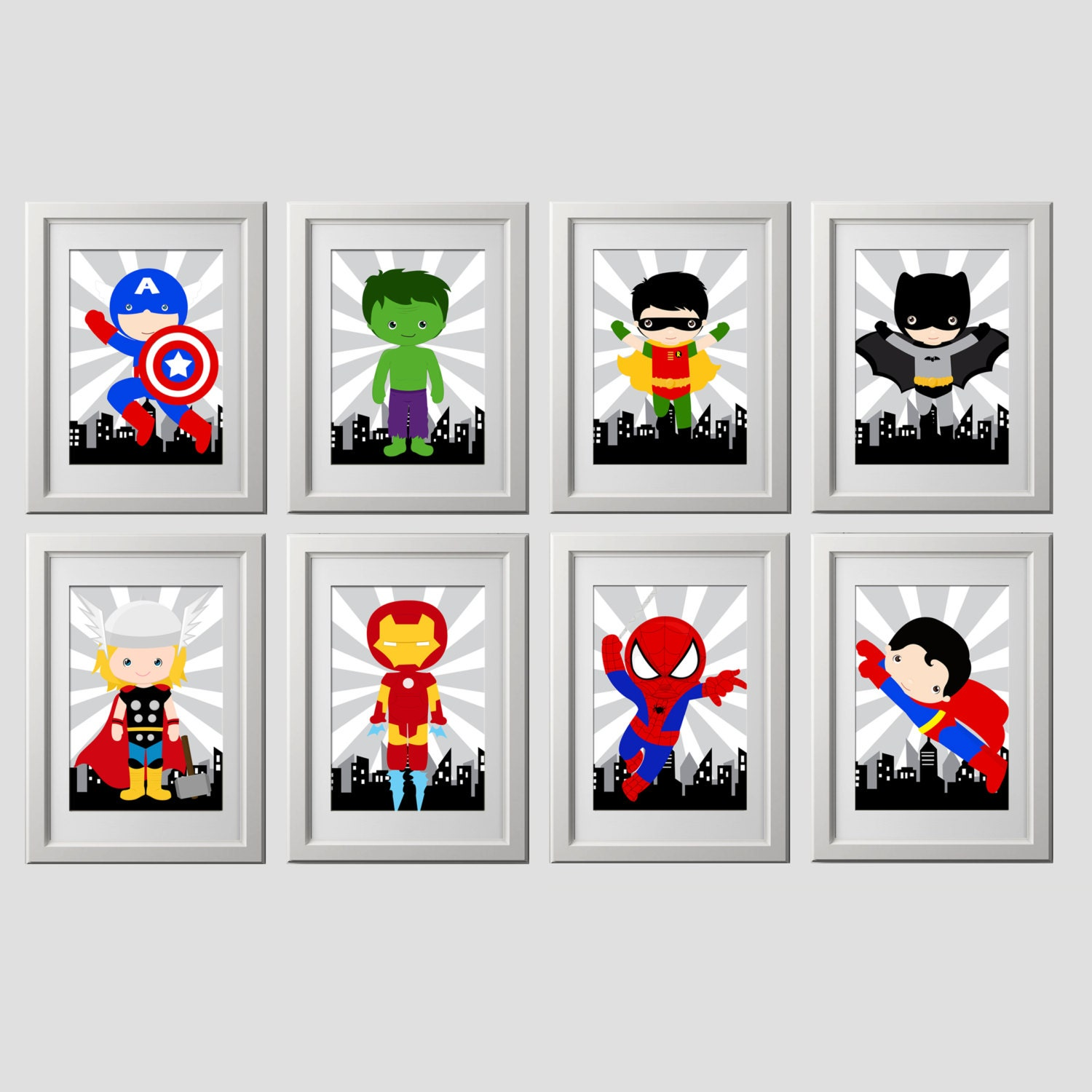 superhero wall art superhero wall decor digital files. Black Bedroom Furniture Sets. Home Design Ideas