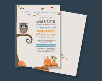 Autumn Little Pumpkin Baby Shower Invitation