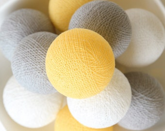 Pastel Yellow Grey White Cotton Ball Lights for Bedroom, Kid's room, Baby room, Wedding, Patio, Party, Fairy, Outdoor, Decor