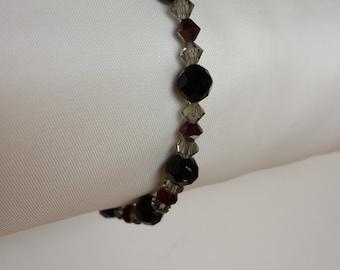 Black and smokey grey Swarovski crystal stretch bracelet