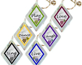 "Wine Glass Charms ""For Life""  from rescued, repurposed window glass~When you don't want to share, mark your glass!"