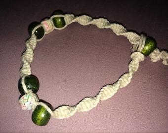 Natural Hemp Bracelet with Hunter Green Wooden Beads
