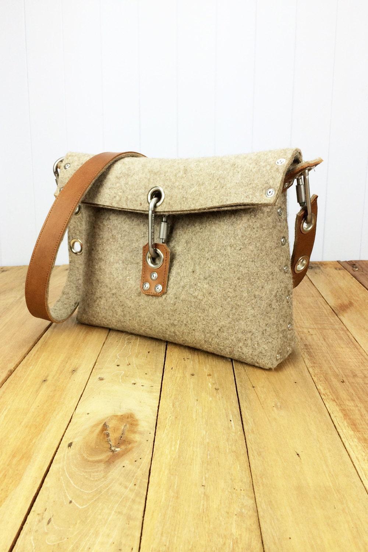 Felt Handbag With Fold Over Top Womans Purse Felt Clutch