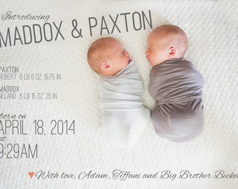 twin birth announcement - back of card design included!
