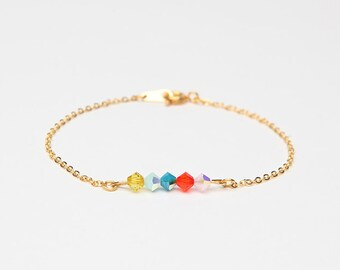 bracelet crystal swarowski chain gold colorful minimalist DAYLIGHT