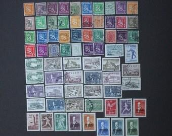 Finland 71 Stamp Collection, Vintage European Finnish World Post Postage Rare Scandinavian Stamps