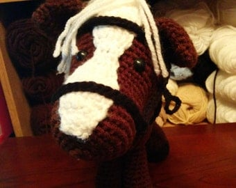 Handmade crochet horse with removable tack
