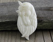 Horse and Feathers, Bone Carving(B053)