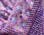 Sofia the First Fabric Lined Crochet Blanket - Ready to Ship