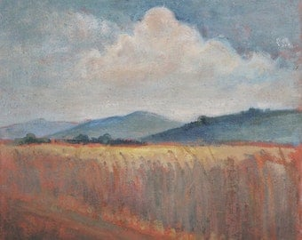 Field landscape vintage oil painting