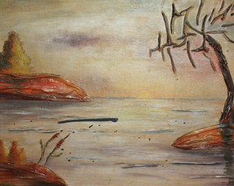 Impressionist river landscape oil/collage painting