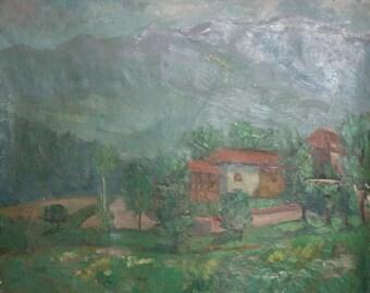 Antique Impressionist Oil Painting Landscape