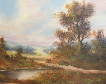 Vintage oil painting country landscape signed