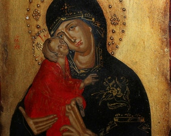 Hand painted Holy Mother Mary tempera icon