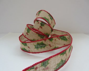 "Burlap Christmas Ribbon Wired 1 1/2"" inch wide Natural Jute Ribbon Holly Leaf Burlap Ribbon Wreath Ribbon Home Decor Natural Burlap LC021"