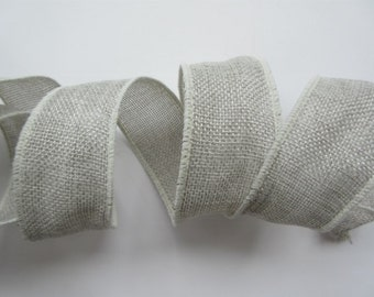 """Grey Burlap  Ribbon Wired 1 1/2"""" inch wide Poly Burlap Faux DIY Wedding Wreath Gift Wrap Gift Basket Bows Tree Decoration Home Decor MB001"""