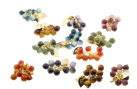 Multi-colored 6mm bead drops with gold-tone leaves
