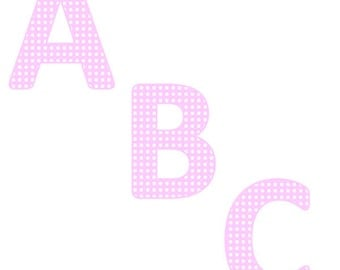 Baby Pink Alphabet with White Polka Dots Clipart